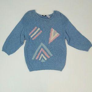80s vintage pastel blue sweater Large knit top